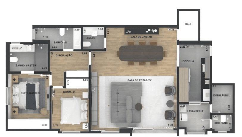 apartamento-de-2-quartos-planta-3-quartos-loft