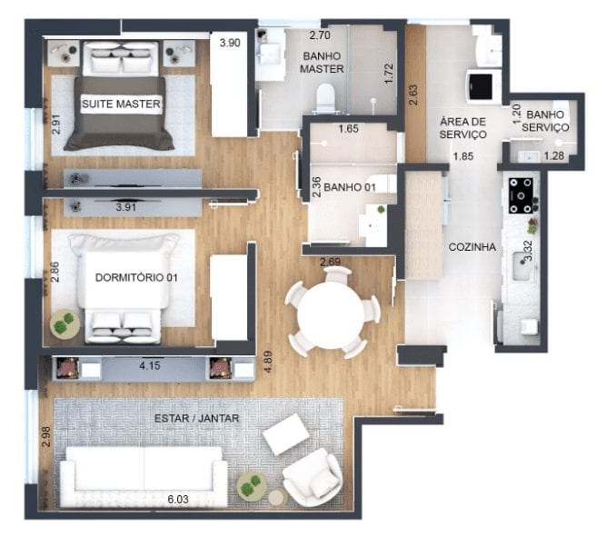 apartamento-de-2-quartos-planta-loft